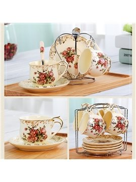 Elegant Ceramic Flower Pattern Cup and Plate Set Painted Pottery