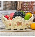 Delicate Ceramic Flower Pattern Ship Shape Fruit Bowl Painted Pottery