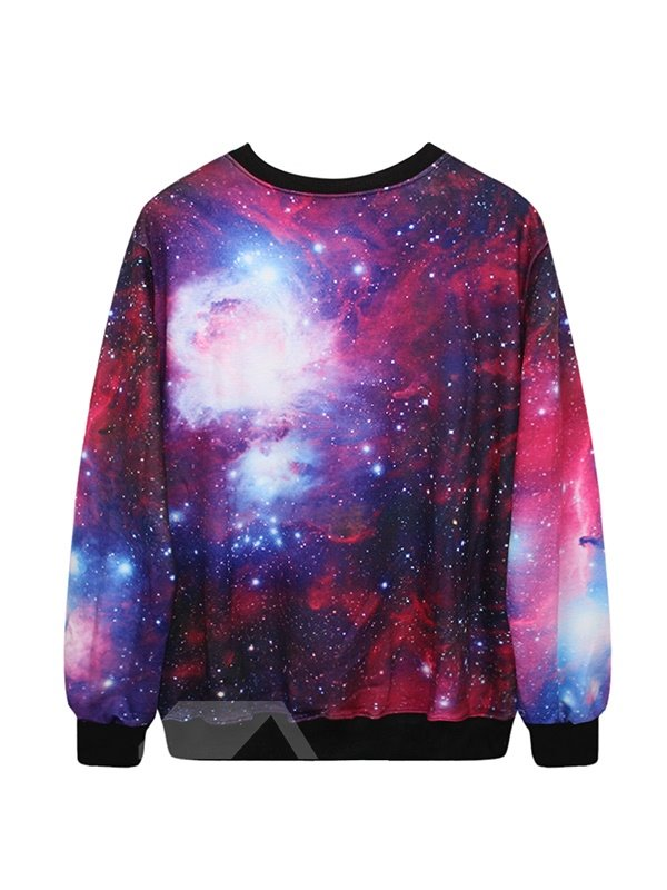 Fashion Long Sleeve Fuchsia Pattern 3D Painted Hoodie