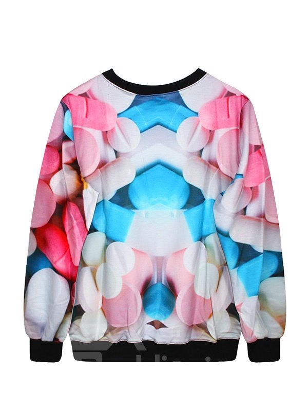 Long Sleeve Multicolor Tablet Pattern 3D Painted Hoodie