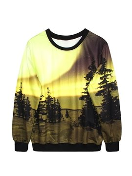 Unique Long Sleeve Landscape Pattern 3D Painted Hoodie