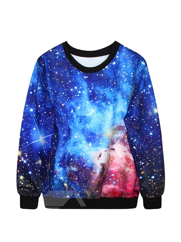 Wonderful Long Sleeve Blue Galaxy Pattern 3D Painted Hoodie