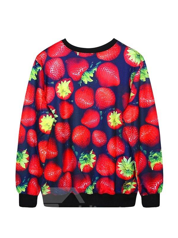 Vivid Long Sleeve Strawberry Pattern 3D Painted Hoodie