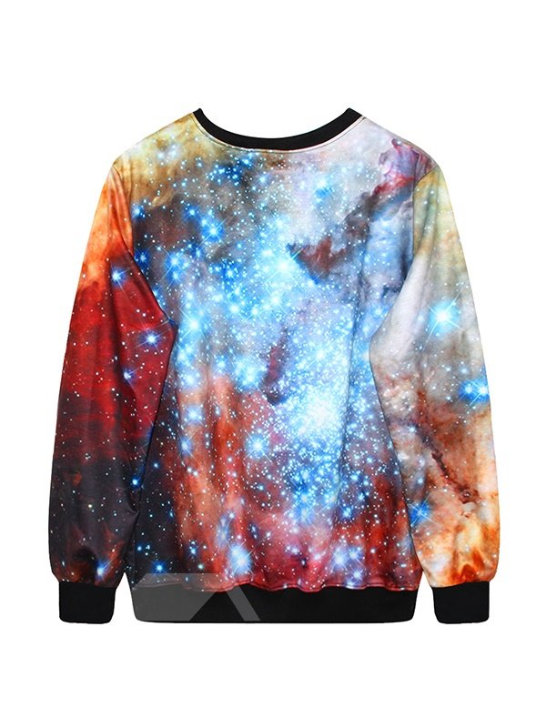 Shining Long Sleeve Galaxy Pattern 3D Painted Hoodie