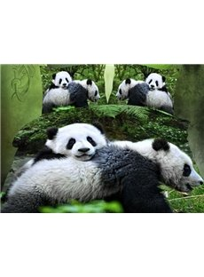Cute Panda 3D Print Polyester 4-Piece Duvet Cover Sets