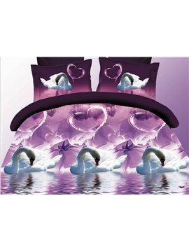 Noble 3D White Swan Printed Polyester 4-Piece Duvet Cover Sets