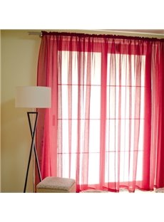 Concise Solid Red Custom Sheer Curtain