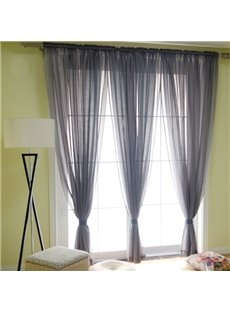 Concise Solid Grey Custom Sheer Curtain