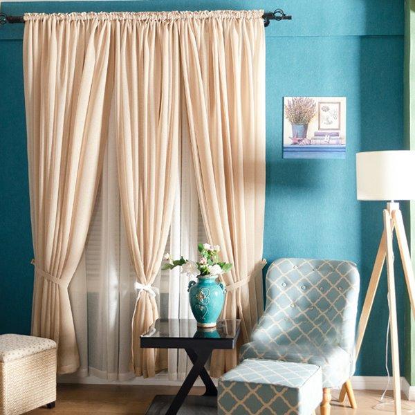 Concise Elegant Solid Beige Custom Sheer Curtain