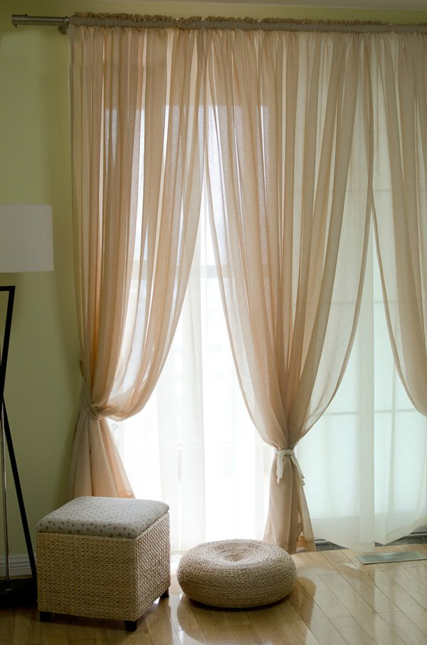 Concise Elegant Solid Beige One Panels Custom Sheer Curtain