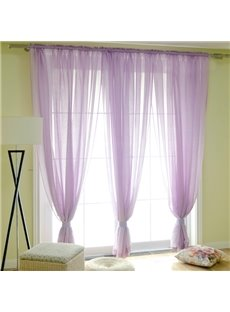 Concise Solid Purple Custom Sheer Curtain