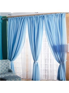 Concise Solid Lemon Sky Blue Custom Sheer Curtain