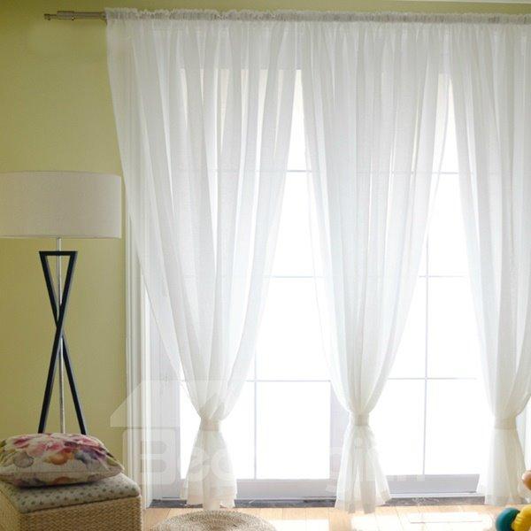 Elegant Concise Solid White Custom Sheer Curtain