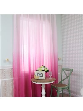 Gorgeous Gradient Color Rose Red Custom Sheer Curtain