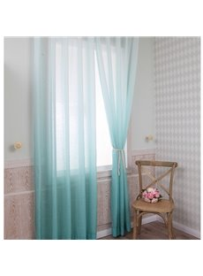 Gorgeous Lake Green Gradient Color Custom Sheer Curtain
