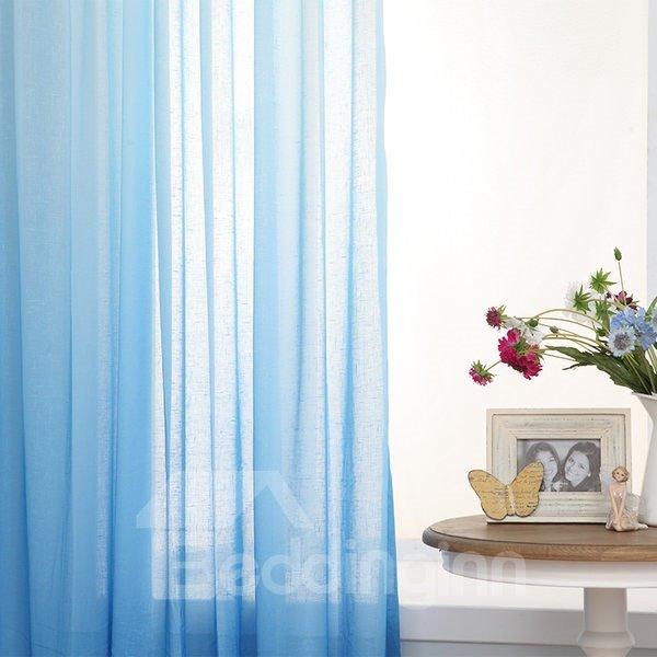 Gorgeous Sea Blue Gradient Color Custom Sheer Curtain