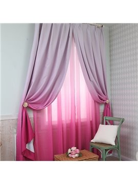 Gorgeous Rose Red Gradient Color Custom Shading Curtain