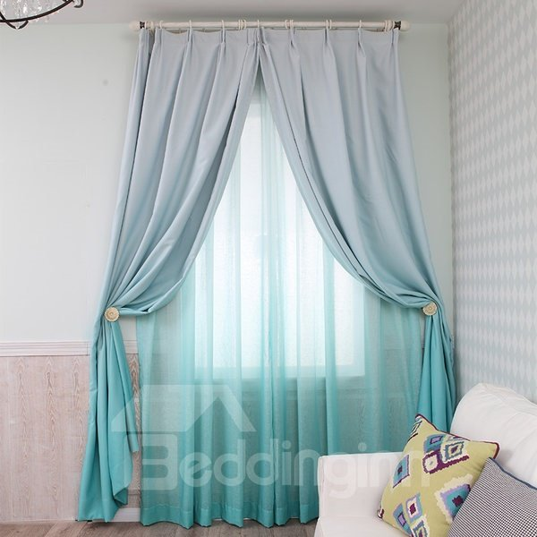 Gorgeous Lake Green Gradient Color Custom Shading Curtain