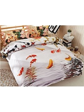 Attractive Goldfish Print 4-Piece Cotton Duvet Cover Sets