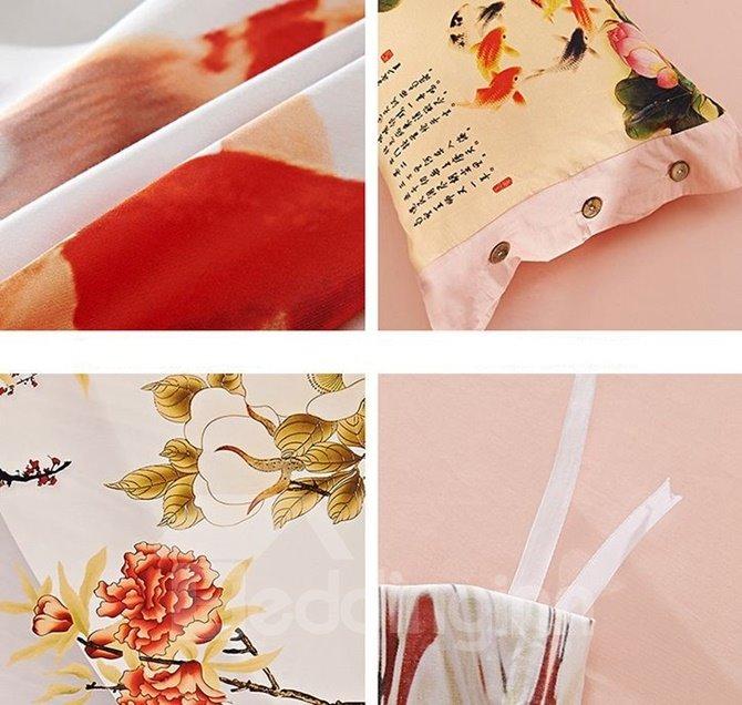 Attractive Goldfish Print 4-Piece Cotton Duvet Cover Sets