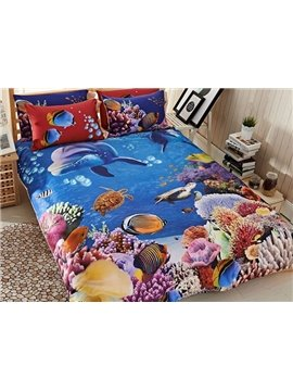 Colorful Sea World Print 4-Piece Cotton Duvet Cover Sets