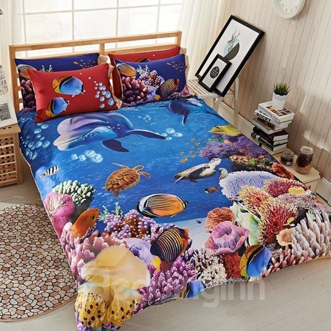 Colorful Sea World Print 4-Piece Cotton Duvet Cover Sets