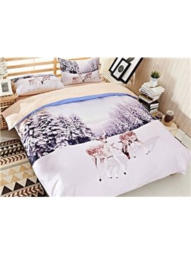 Likable Sika Deer Print 4-Piece Cotton Duvet Cover Sets