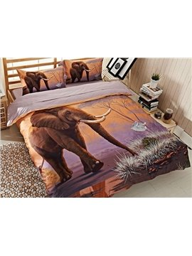 Strong Elephant Print 4-Piece Cotton Duvet Cover Sets