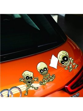 Three Cute Little Skull Frighten Creative Car Sticker