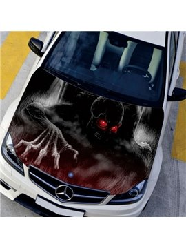Popular Cool Skull Eyes Flashing Red Light Lifelike Front Car Sticker