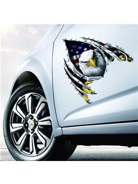 Lifelike 3D Vivid Eagle With American Flag Style Car Sticker