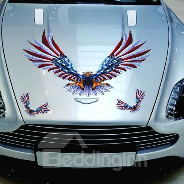 Ferocious Eagle In American Flag Design Creative Sticker