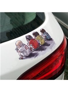 Four Interesting Cartoon Soccer Player Back Creative Car Sticker