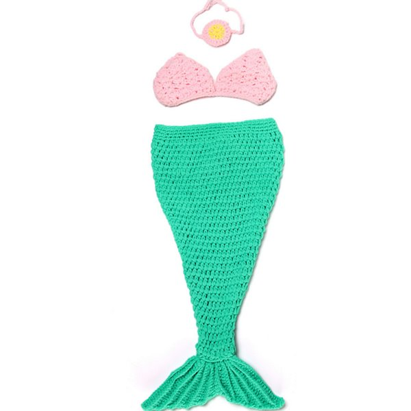 Knitted Crochet Mermaid Shaped Green Baby Clothes Photo Prop