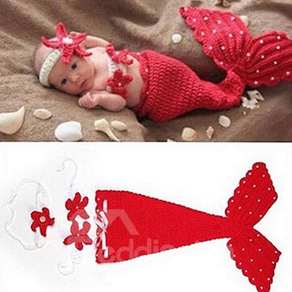 Lovely Knitted Crochet Mermaid Shaped Red Baby Clothes Photo Prop