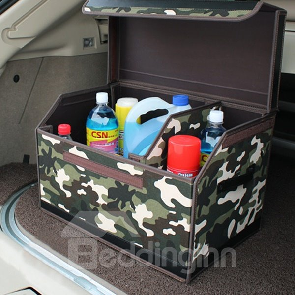Camouflage Army Green Oxford And Leather Material Splice Foldable Car Organizer