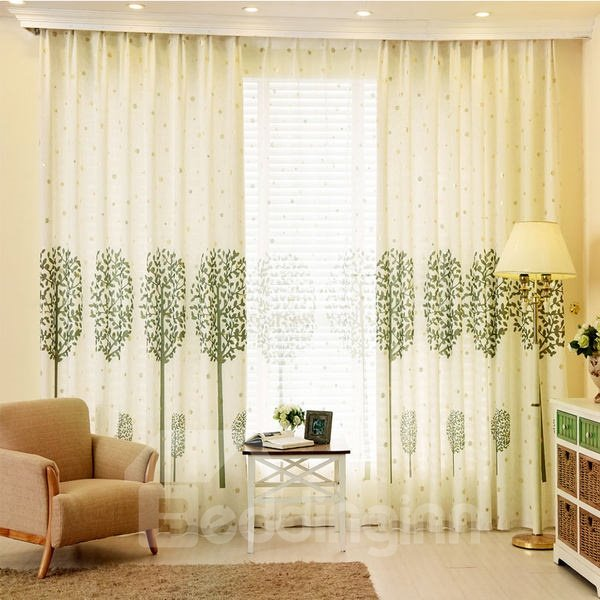 Country Style Green Tree Printing Custom Grommet Top Curtain 12429433