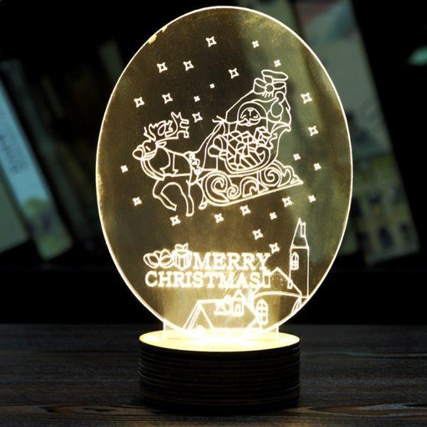 Festival Christmas Decoration Elk Pull Sled Pattern Table Lamp