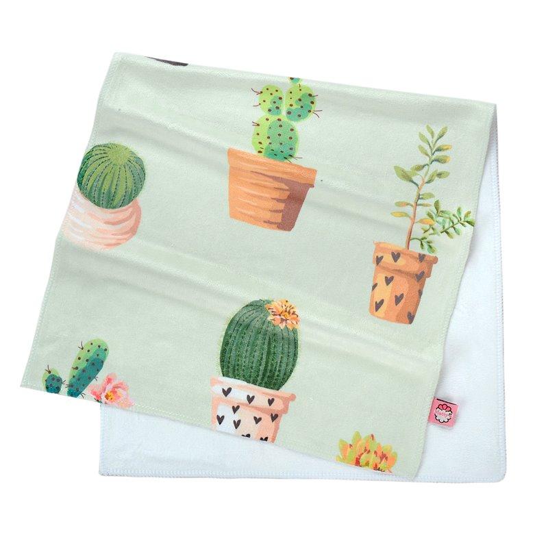 Watercolor Green Bonsai Cactus Printing Face & Hand Towel