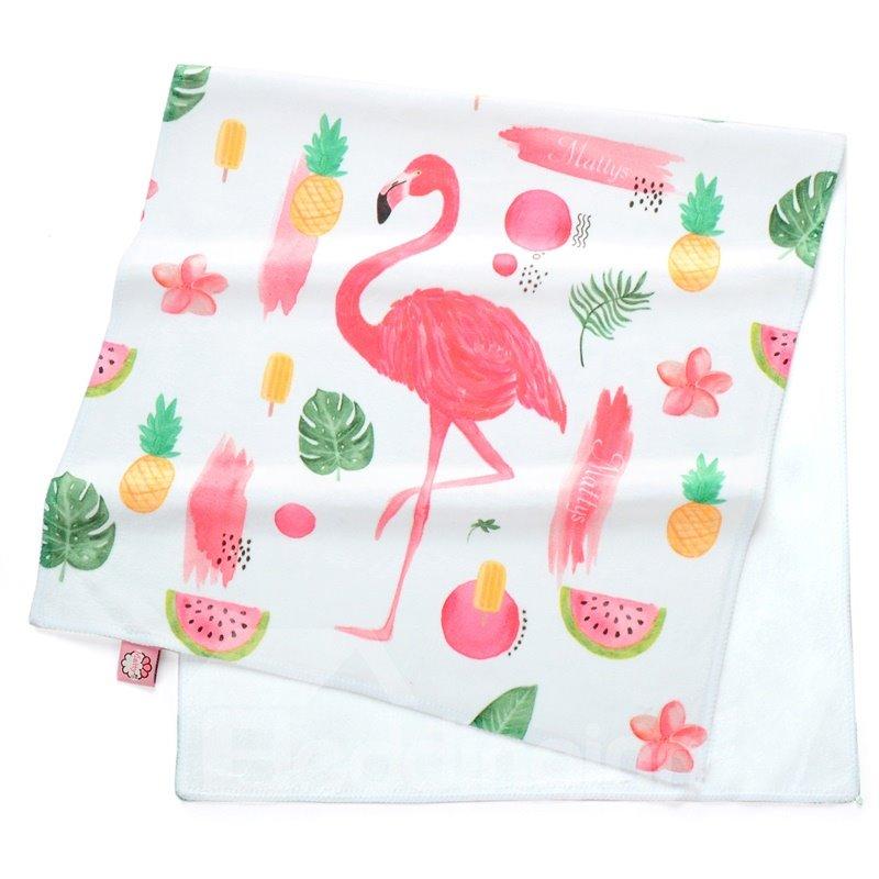 Watercolor Cartoon Flamingos and Tropical Fruit Printing Face & Hand Towel
