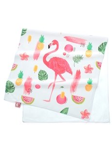 Watercolor Cartoon Flamingos and Tropical Fruit Printing Face & Hand Towel