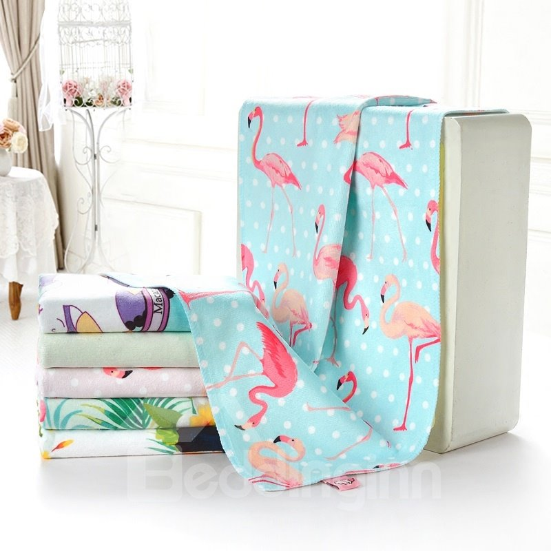 Watercolor Cute Flamingo Printing 2 Colored Bath Towel