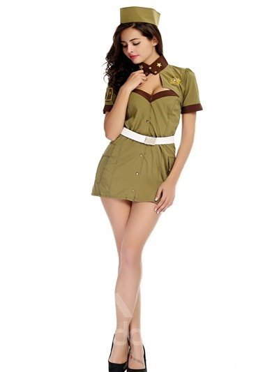 Elegant Female Officer With Special Hat Design Cosplay Costumes