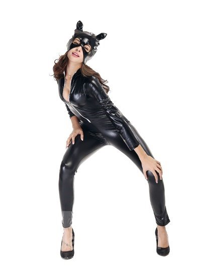 Tight And Sexy Catwoman Style With Mysterious Mask Cosplay Costumes