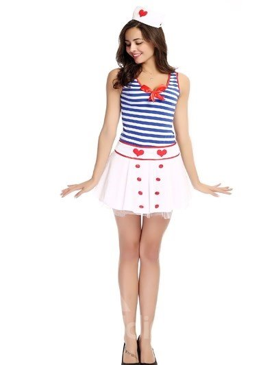 Army Navy Blue Pattern Coat With Lovely Short Skirt Nursing Uniforms Cosplay Costumes