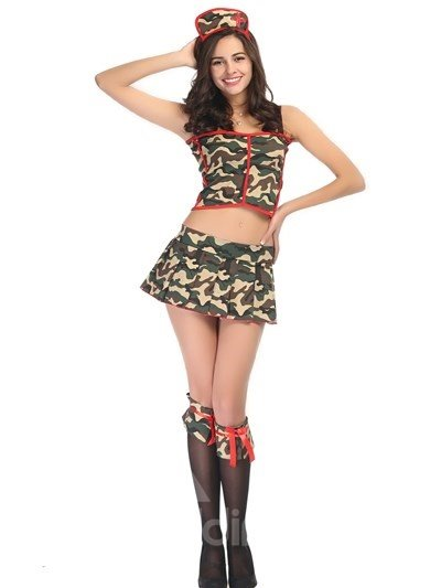 Dancing Girl Army Green Style Short Skirt Cosplay Costumes