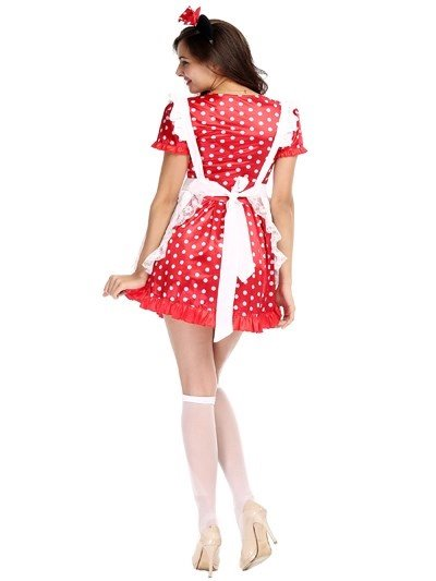 Lovely And Nifty Maid With Beautiful Red Bow Cosplay Costumes