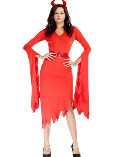 Red Rock Fire Long Shirt With Special Sleeve Design Cosplay Costumes