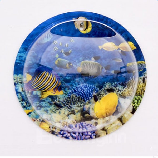 Fresh Acrylic Round Ocean Fishes Pattern Wall Decoration Flower Vase