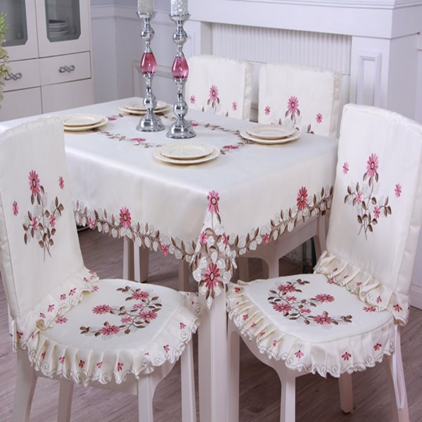 Comfortable Polyester Fibre Removable Flower Pattern Dining Chair Covers